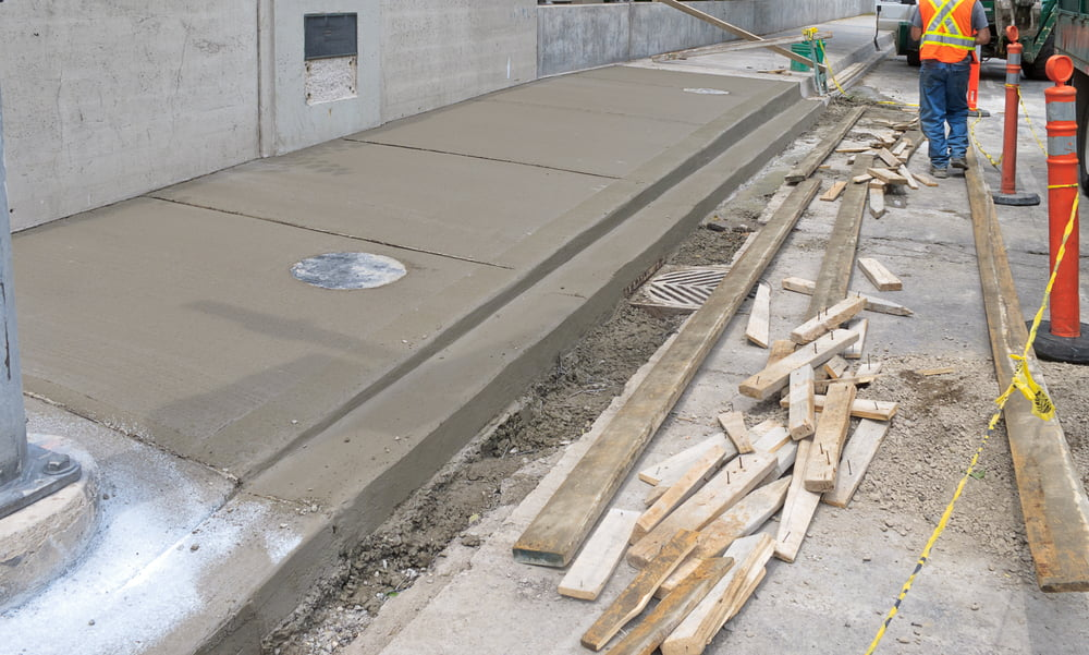 A concrete repair work ongoing in Seattle, WA