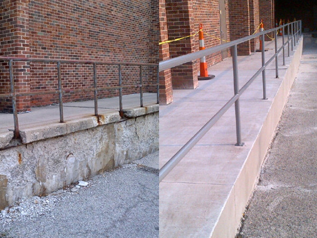 Before/after of repaired concrete walkway with handrails