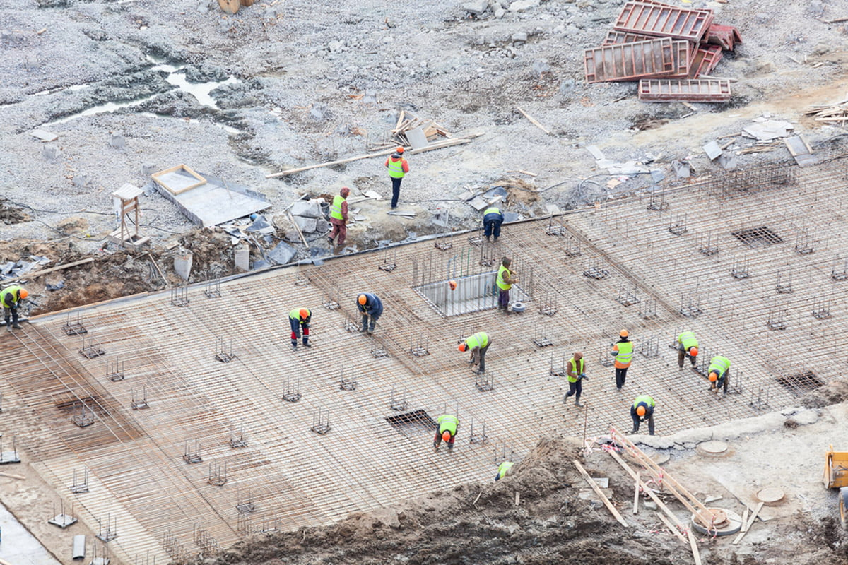 Commercial concrete foundation work ongoing in Seattle, WA